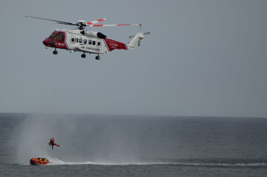 RNLI Open Day, August 2017. Withernsea lifeboat, Humber Lifeboat, RNLI Coastguard Rescue Helicopter Lifeboat RNLI Boat Coastguard Day Extreme Sports Flying Full Length Horizon Over Water Lifeboat RNLI Mid-air Nature One Person Outdoors Parachute People Rescue Sea Sky Water Winchman