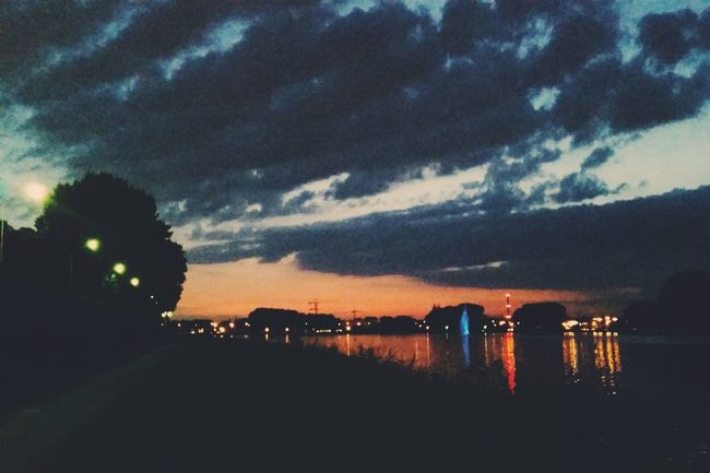 Sunset Lake Sky City Skyline