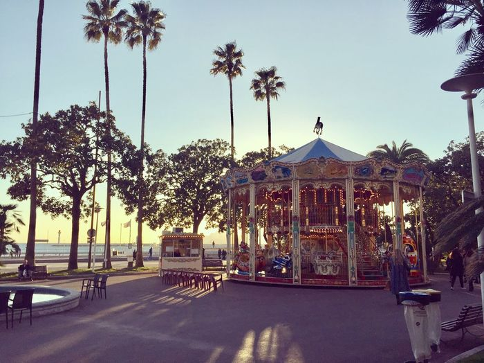 Cannes, France Karussell Carousel Sunset Sunshine Outdoors