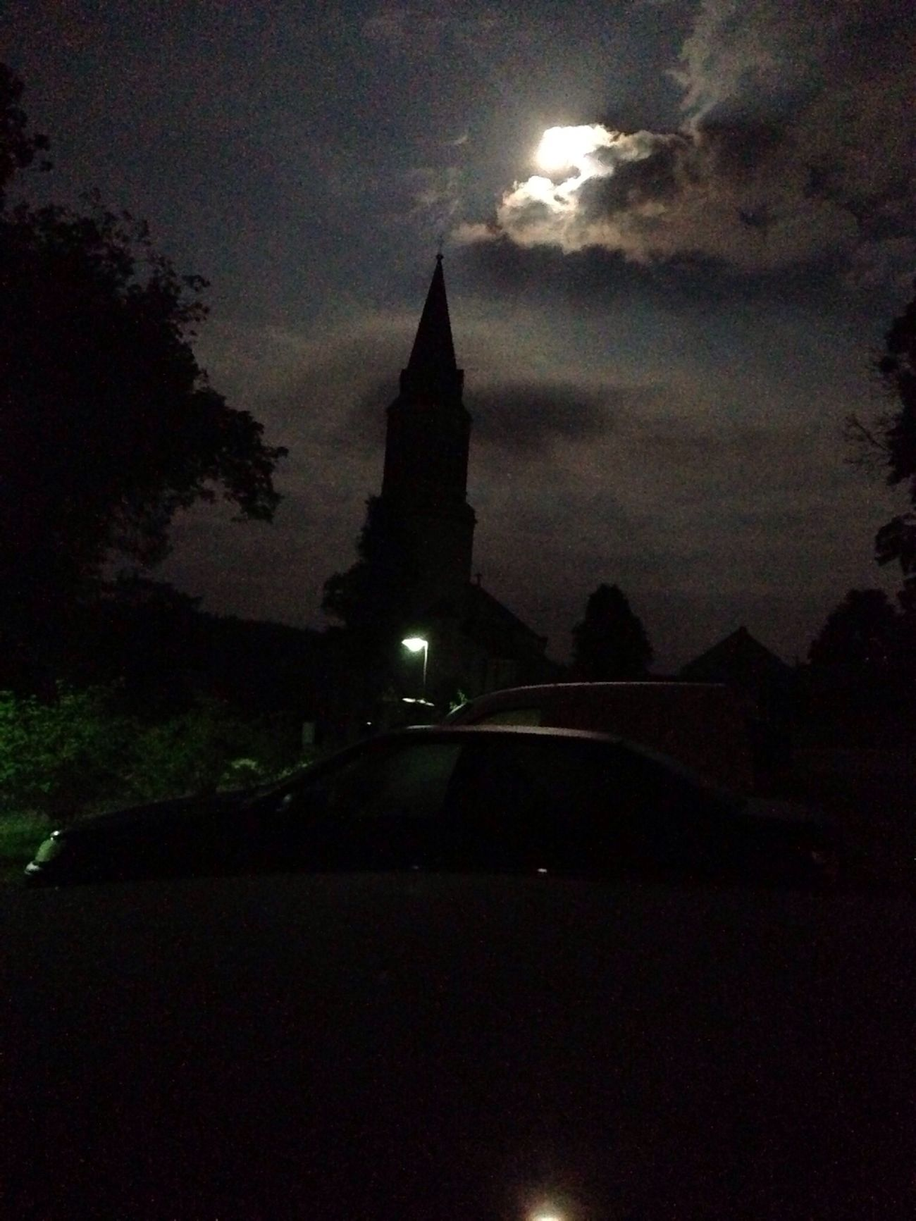 full moon over the church