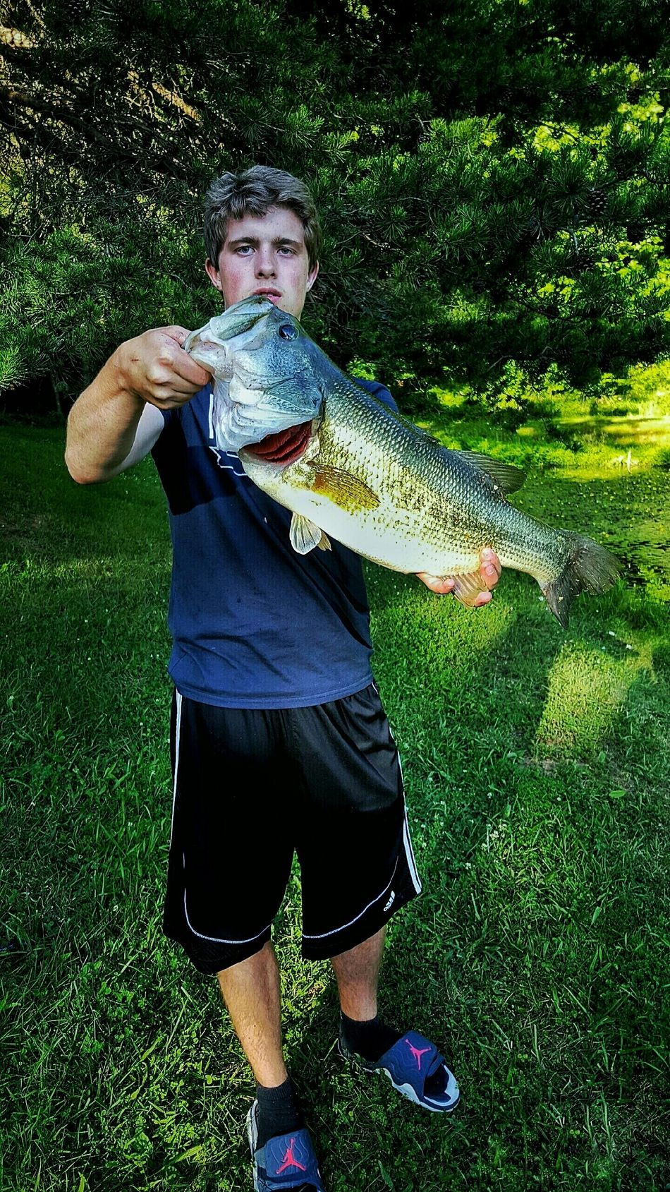 Largemouthbass Bass Fishing Happy Proud Excited Confidence  Pond West Virginia USA Outdoors Outdoorsman Outdoorsports