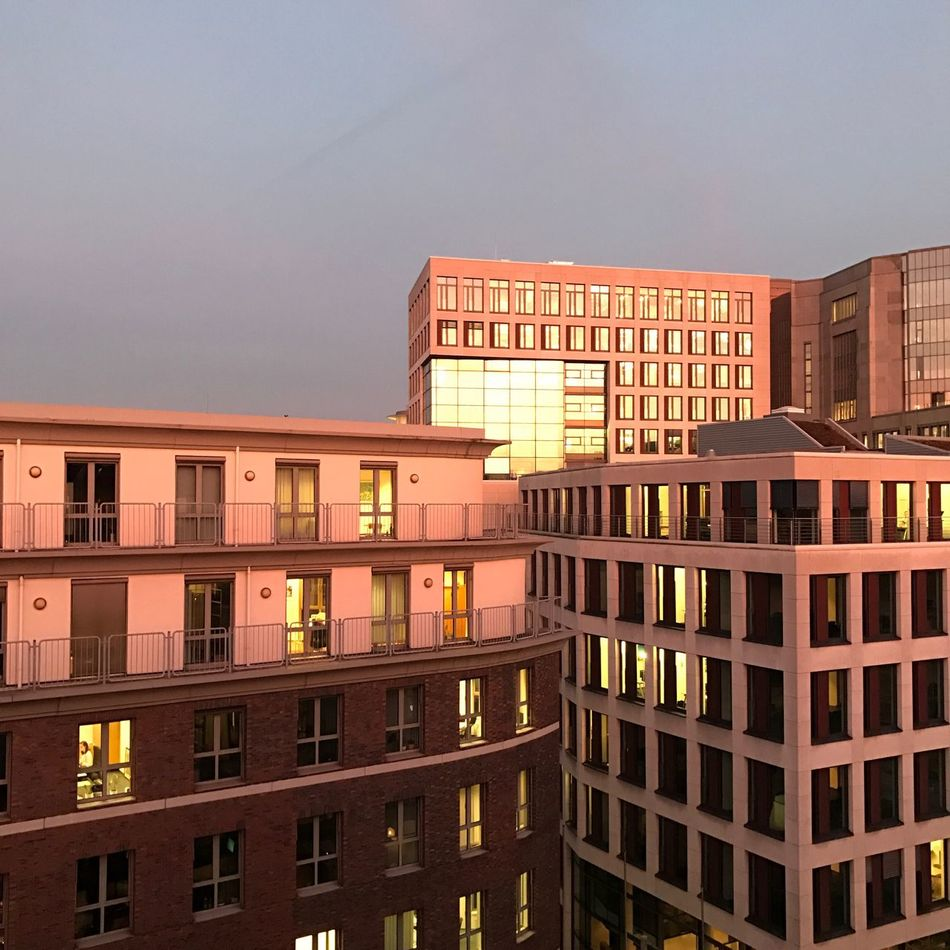 Sunset in the city! Architecture Built Structure Building Exterior Reflection Clear Sky Water No People Sunset Outdoors Sky Day Nature Hamburg Officeview Nofilter