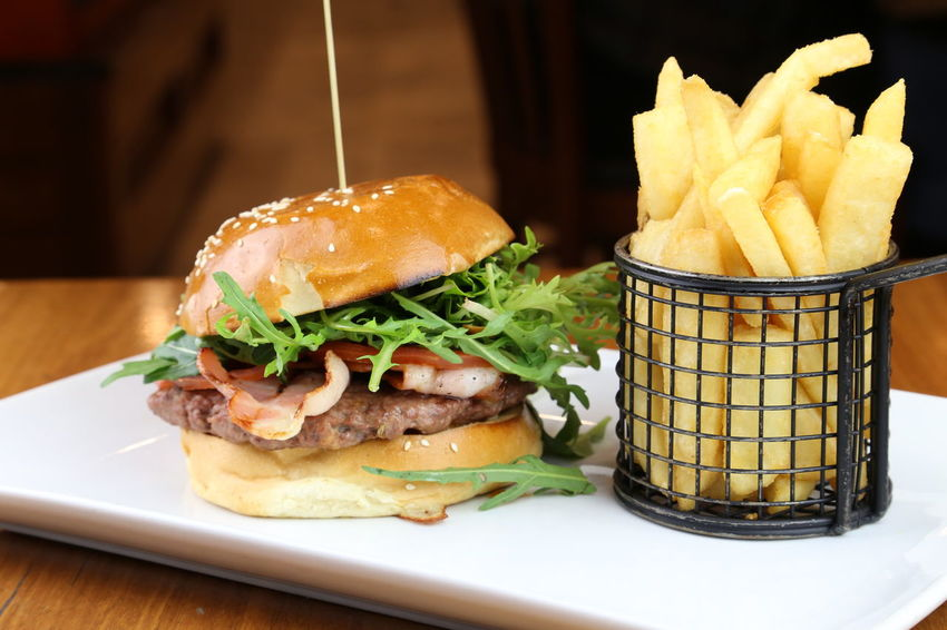 Burger Burger Chips Food French Fries Ham Hamburger Meal Meat Plate Ready-to-eat Serving Food Serving Size
