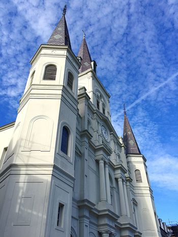 Building Exterior Low Angle View Architecture Built Structure Religion Place Of Worship Sky Spirituality Outdoors No People Day Bell Tower Rose Window Jackson Square St. Louis Cathedral