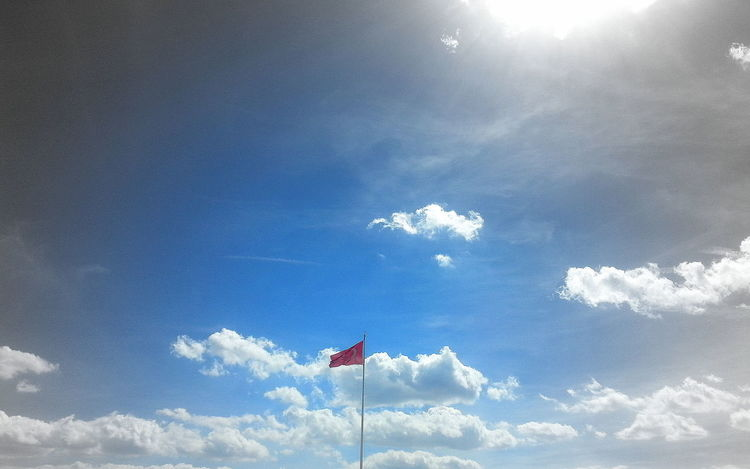 Blue Cloud - Sky Day Flag Low Angle View National Icon Nature No People Outdoors Patriotism Sky