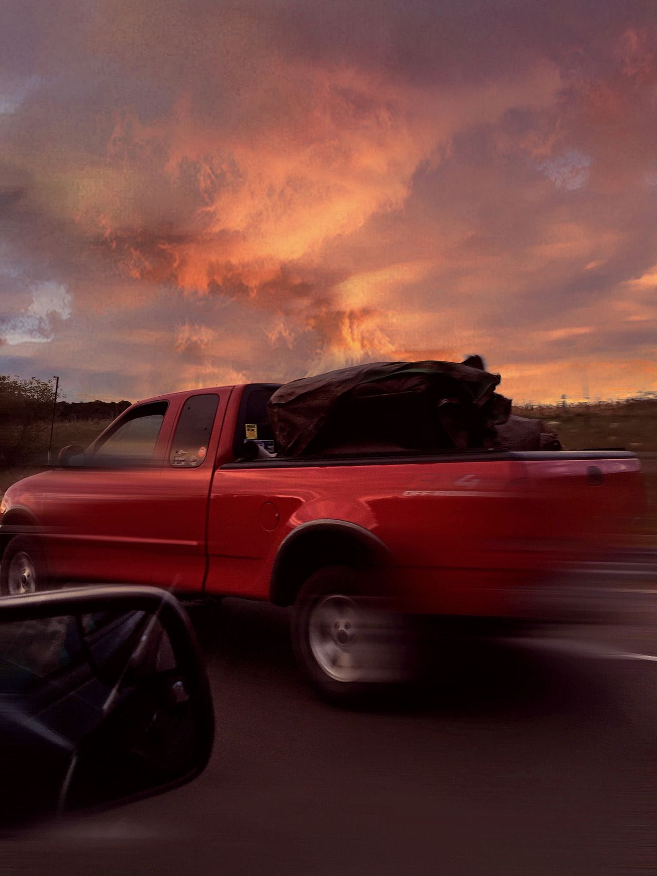 The Drive Red Truck Speed Speeding On The Road Sky And Clouds Highway Pick Up Truck