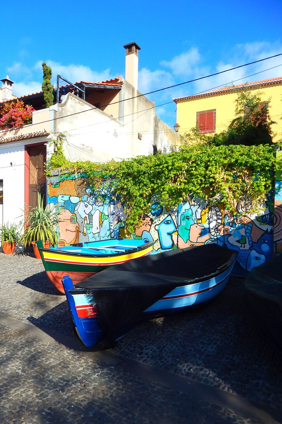 Souvenir Madeira !! Taking Photos Enjoying Life Beautiful City Walk Colors Colorful Portugal Traveling Boat Painting Sky Blue