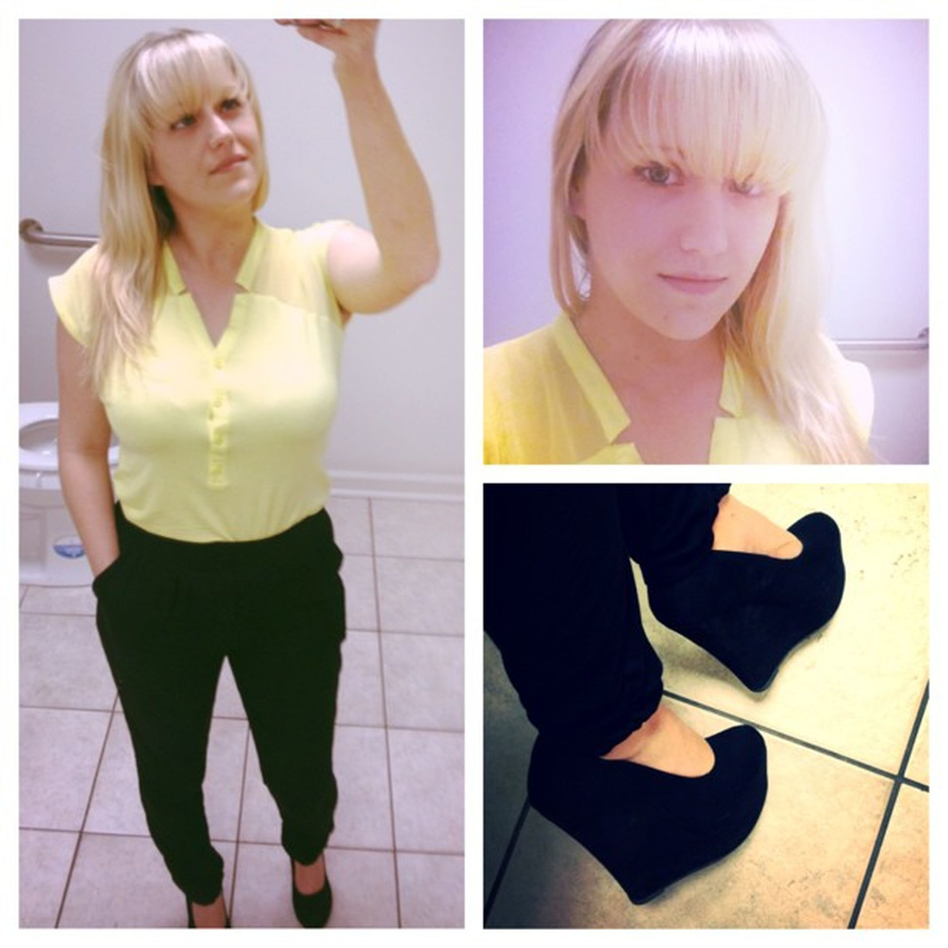 Picstitch  Para shoot Pants BarIII Yellow cropped tee Newyork &Co Wedges Mandee .. Outfit for Tuesday ?