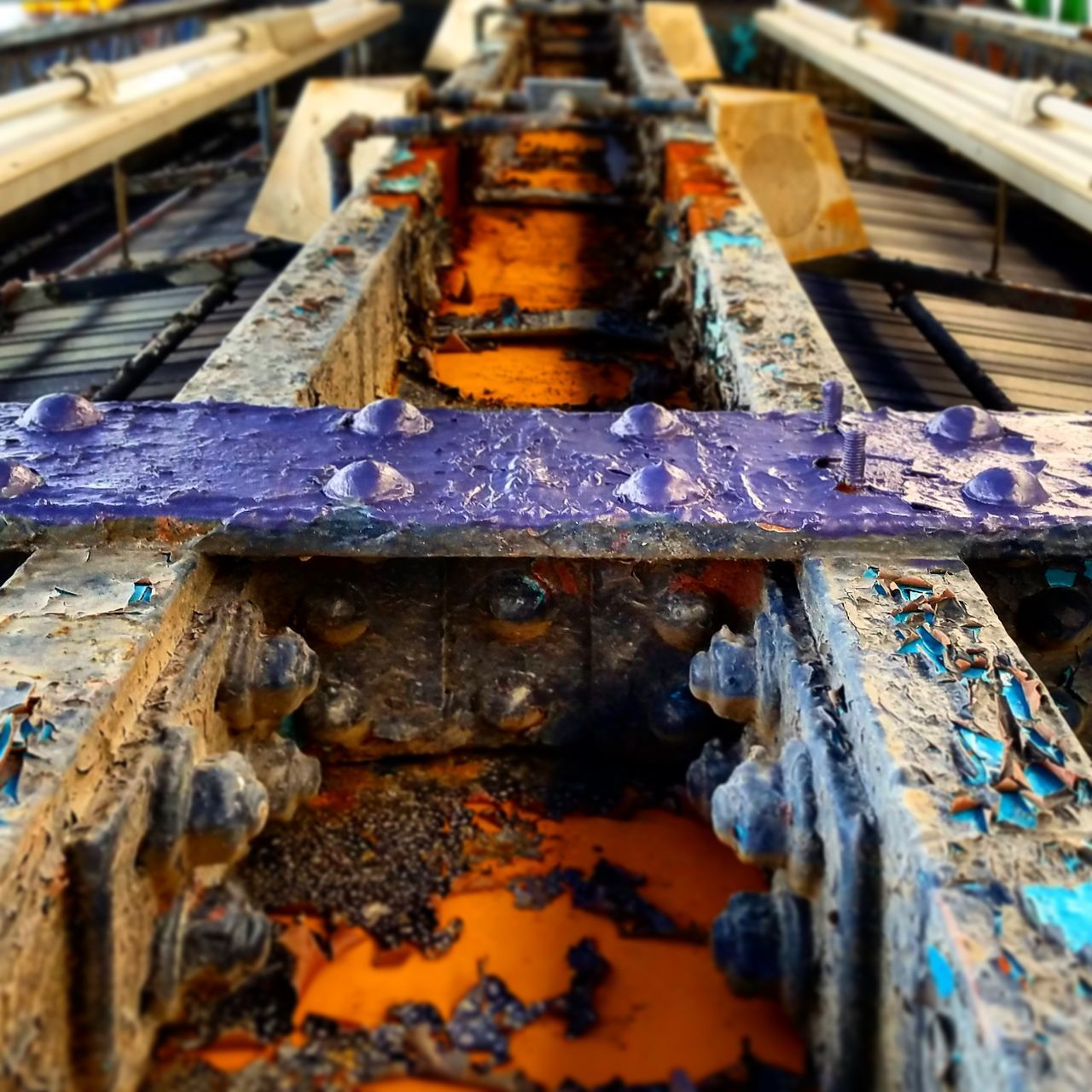 -Underbelly of the Beast- Subway Metal Beams Painted Beams Supports Transportation Urbanphotography Decay Peeling Paint Color Of Life