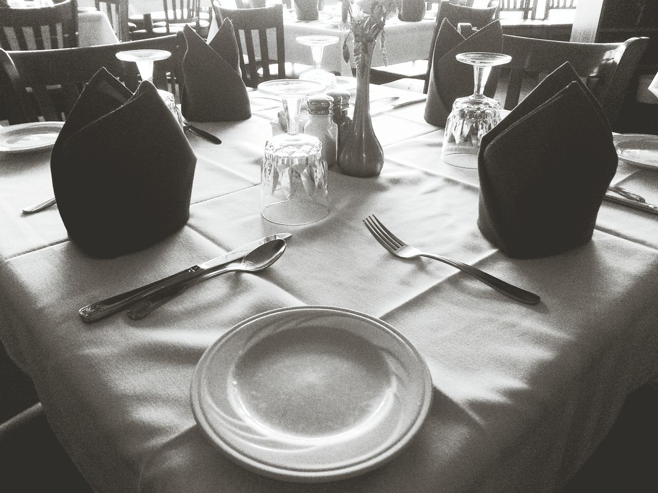 The setting. Lunch Still Life Blackandwhite Droidography