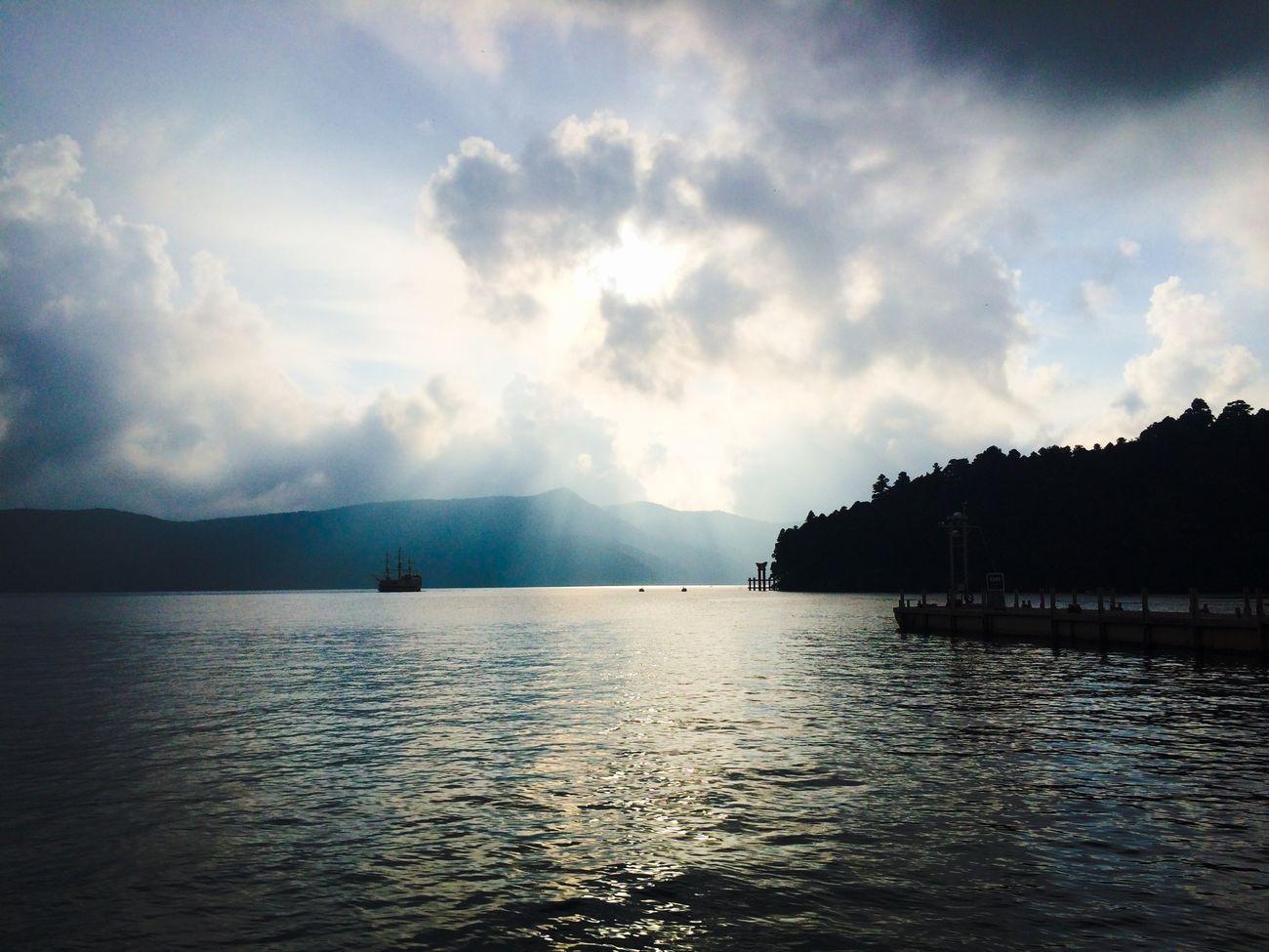 Lake Water Lake Ashi Light Shafts Of Light Clouds Torii Gate Hakone Ship IPhoneography