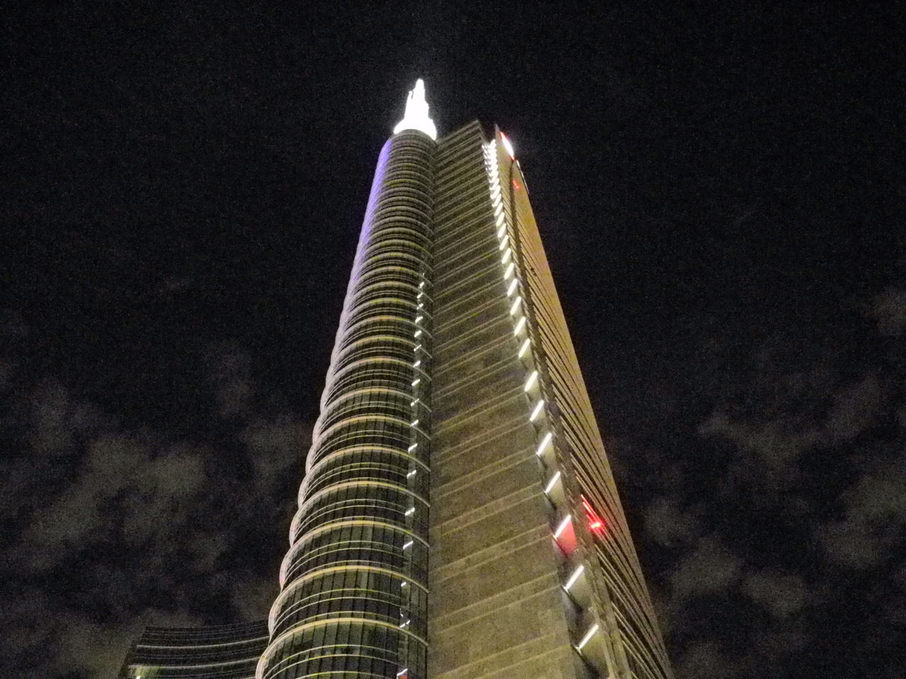 night, low angle view, architecture, built structure, sky, illuminated, building exterior, skyscraper, modern, no people, outdoors
