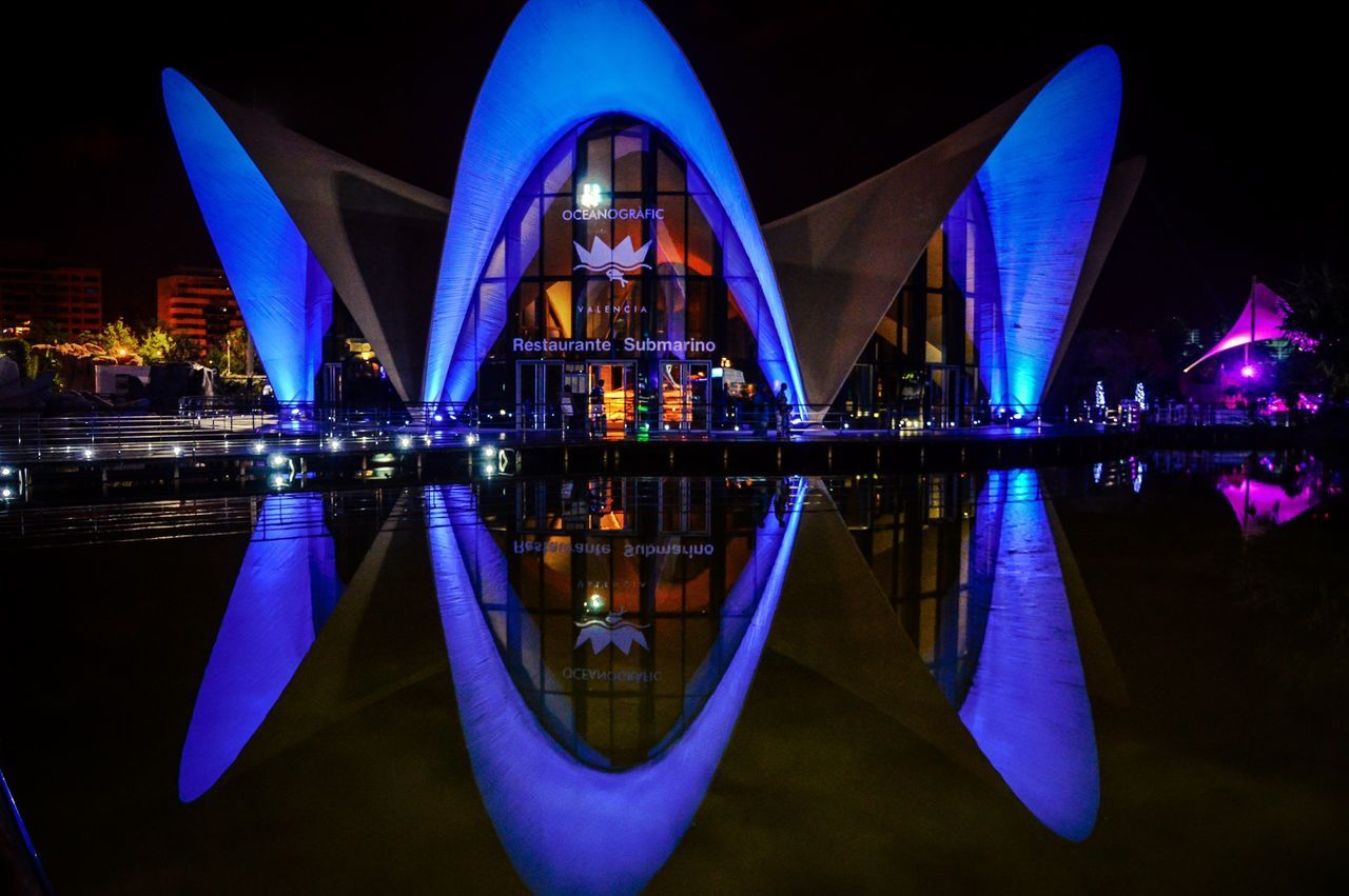 Nocturna del Oceanografico (Valencia - Spain) Valencia, Spain SPAIN Reflection Night Architecture City Illuminated Water Modern Travel Destinations Outdoors Cityscape Oceanographic