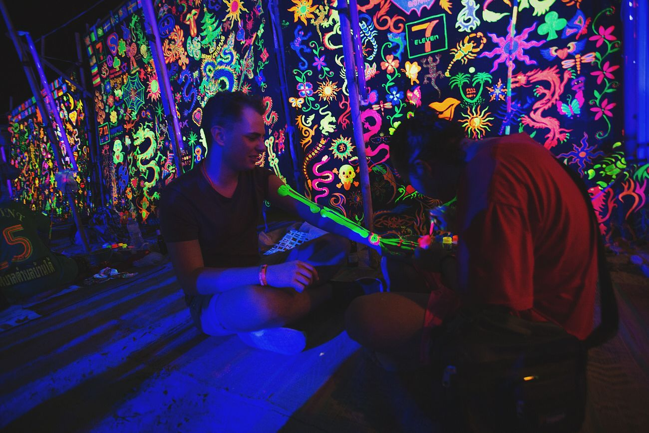 Multi Colored Night Annual EventMulti Colored Traveling Travel Thailand Thai Nightlife Night Lights Full Moon Night  Full Moon Party Party Grow Real People Indoors  Adults Only People Adult One Person Night Only Men Annual Event Sea Beach