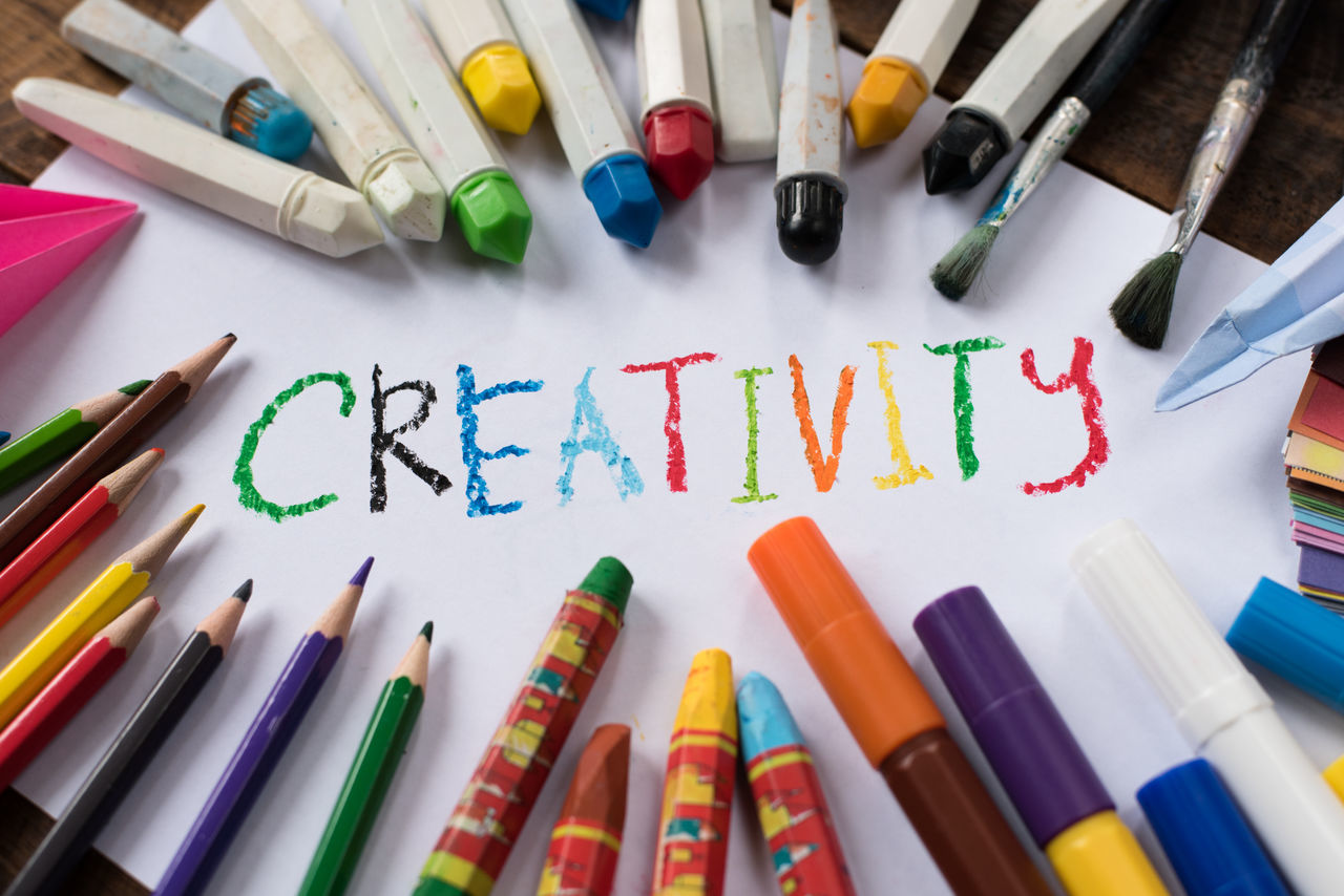 creativity conceptual background Creativity Fun Learning Art Backgrounds Childhood Choice Colored Pencil Colorful Coloured Concept Crayon Day Education Idea Indoors  Leisure Marker Pen Multi Colored Paper Pencil School Variation Vision Watercolor