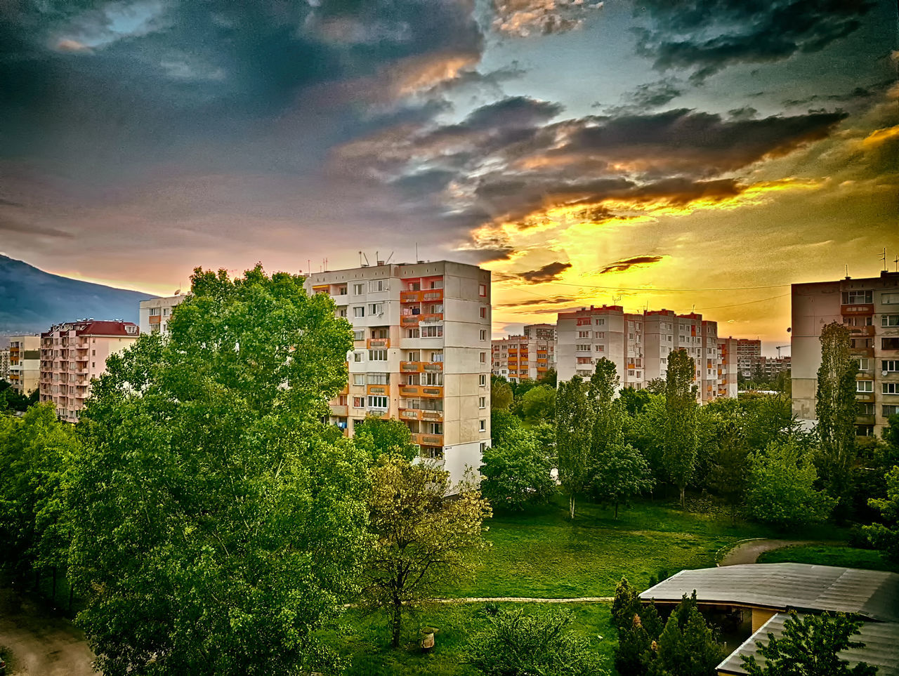 architecture, building exterior, built structure, sunset, cloud - sky, sky, tree, city, outdoors, residential building, no people, growth, cityscape, nature, modern, skyscraper, beauty in nature, apartment, day