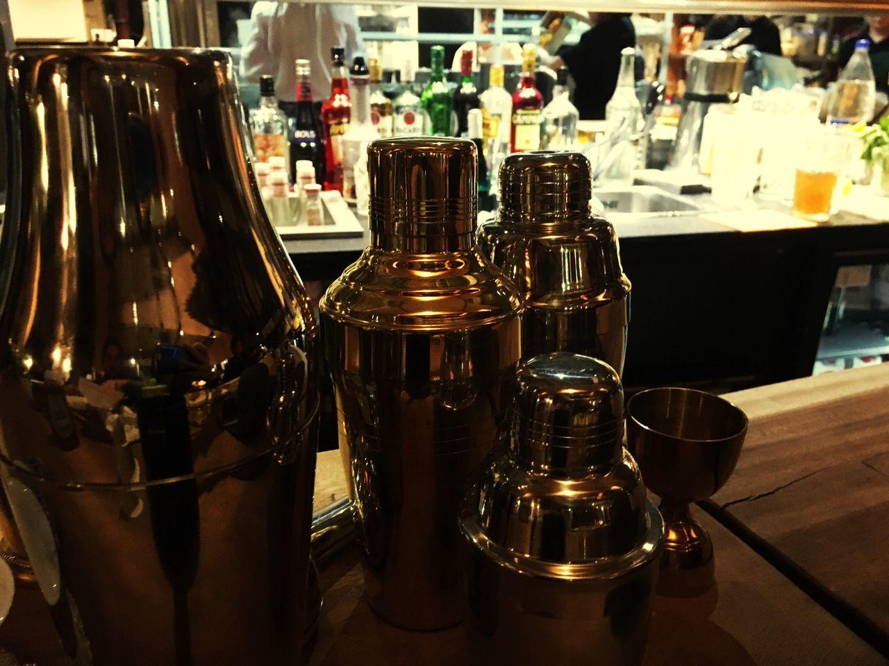 Bar No People Alcohol Shakers Shaker Drink Metallic Shiny Restaurant