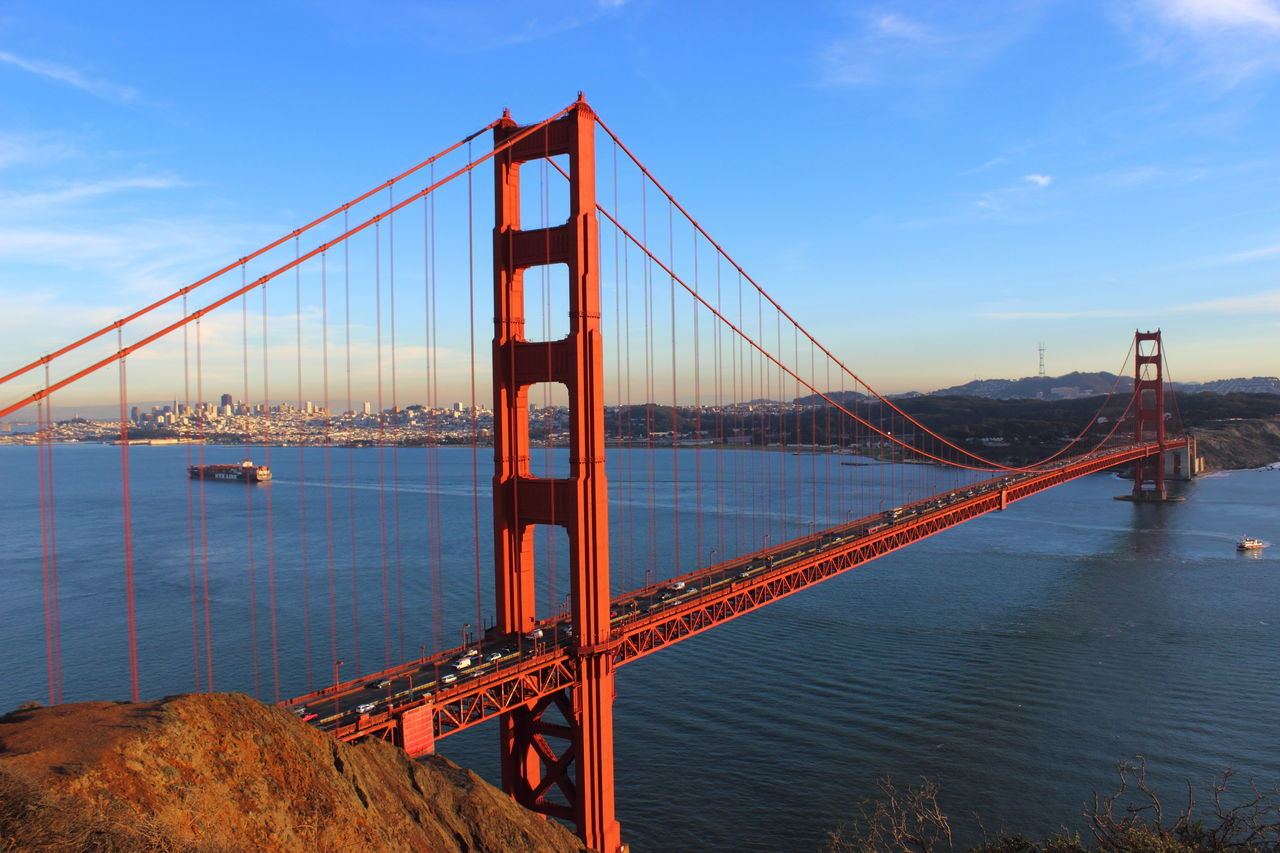 Architecture Atlantic Ocean Bridge Bridge - Man Made Structure Built Structure City Cityscape Golden Gate Bridge No People San Francisco Sea Ship Sky Sunset Tourism Travel USA USAtrip Water