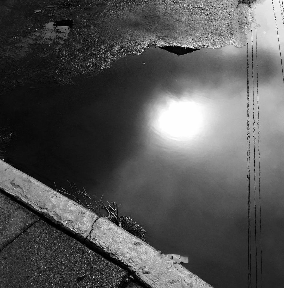 The Street Photographer - 2016 EyeEm Awards Curb Water Reflection Los Angeles, California Black And White Syreet