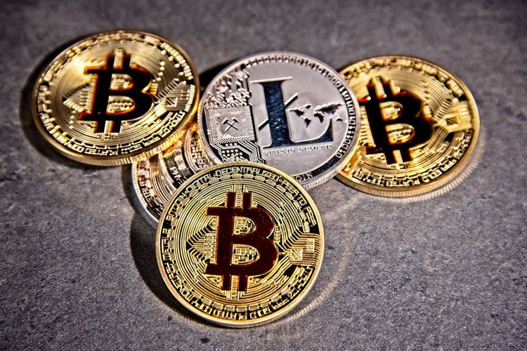 Shining metal BTC bitcoin and litecoin coins on grey background. BTC Deep Web Economy Gold LTC Virtual Bitcoin Blockchain Close-up Coins Crypto Cryptocurrency Cryptography Dark Web Digital Finance Gold Gold Colored Litecoin Money Trade