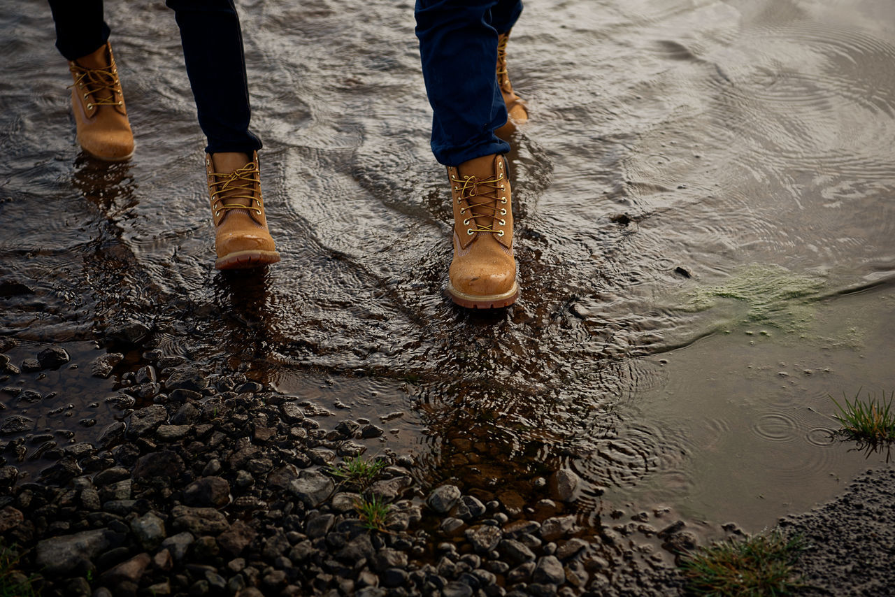 togetherness Boots Couple Day Footpath GORE TEX® Human Foot Limb Low Section Men Person Reflection Road Shoe Togetherness Water Waterproof Wet People And Places Let's Go. Together. Done That.