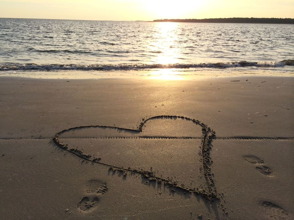 A Message of Love in the sand to my love Beach Beautiful Heart Charleston Coast Coastline FootPrint Heart Drawn In The Sand Horizon Over Water Love Outdoors Remote Sand Sand Love Sea Seabrook Island South Carolina Beach Summer Sunset Silhouettes Surf Tropical Climate United Stats Vacations Water Wave Wet