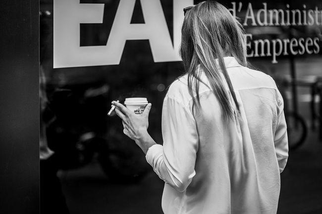 Coffee And Cigarettes Urban Scenes People Girl Woman Streetphotography The Street Photographer - 2016 EyeEm Awards Streetphoto_bw Open Edit Blackandwhite Monochrome Monochrome_life