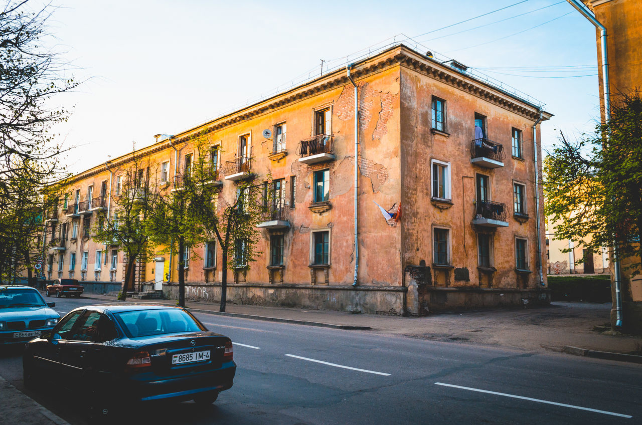 Apartment Architecture Built Structure Car City City City Life Day Façade Pskov Road Russia Sky Street Window