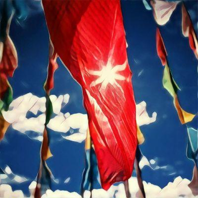 Sunny Lungta Tibet тибет Māksla Art Travel Lungta Lucky Majestic Vibrant Color Sky Sunny Sun