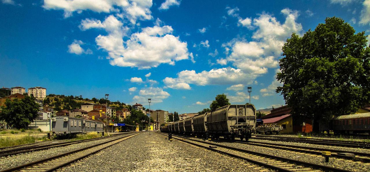 Blue Cloud Day Freight Transportation Karabuk Outdoors Sky Train Station