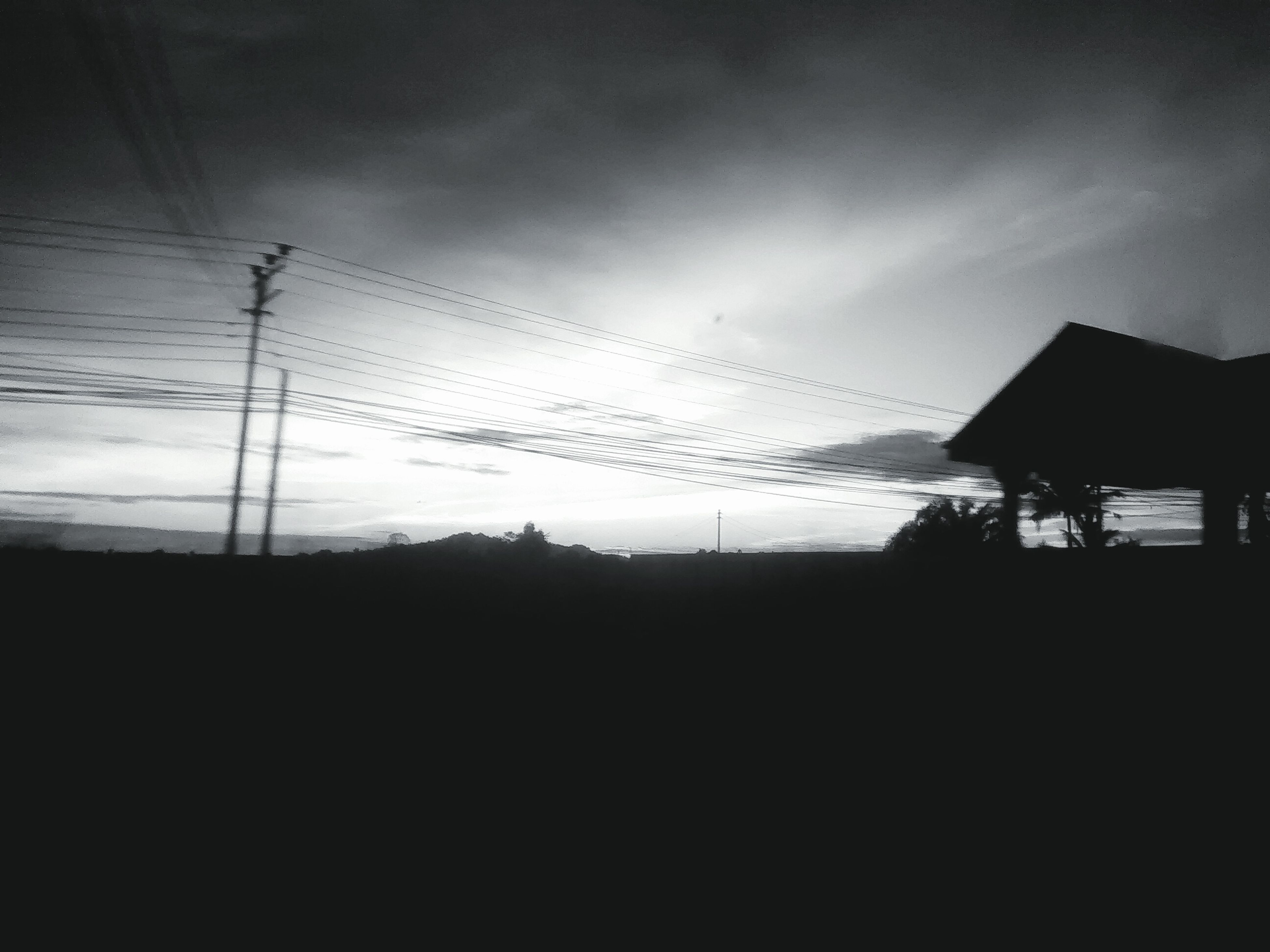 silhouette, cable, electricity pylon, sky, electricity, power line, no people, nature, landscape, tree, outdoors, architecture, day