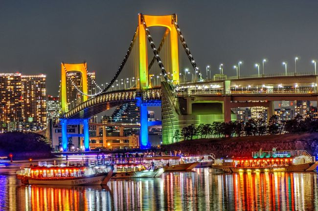 Tokyo Night Night Lights Reinbow Bridge Bridge 屋形船銀座