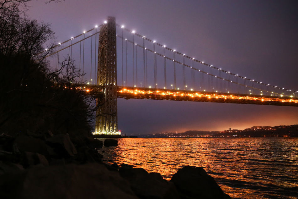 Architecture Bridge Bridge - Man Made Structure Building Exterior Built Structure Chain Bridge City Clear Sky Connection Engineering George Washington Bridge Illuminated Nature Night No People Outdoors River Sky Sunset Suspension Bridge Transportation Travel Travel Destinations Tree Water