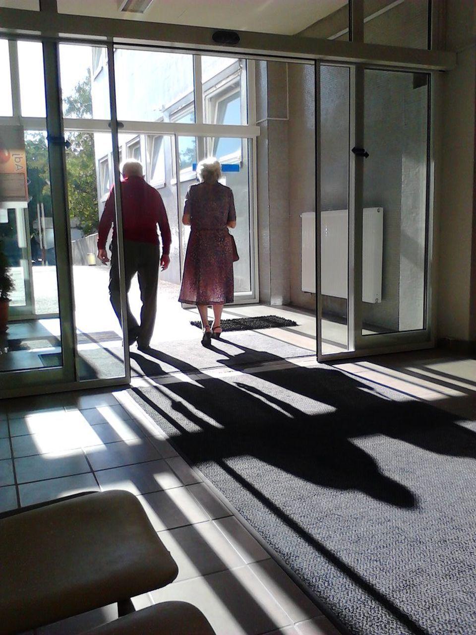 shadow, walking, full length, sunlight, indoors, friendship, women, day