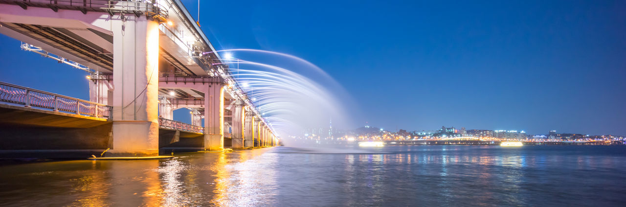 Banpo Bridge, Seoul Architecture Banpo Bridge Banpo Daegyo Blue Built Structure City Engineering Fountain Illuminated Nature No People Outdoors Rippled River Sky Water Waterfront