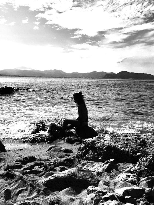 My island Sicily Silhouette Blackandwhite Tranquility Mediterranean