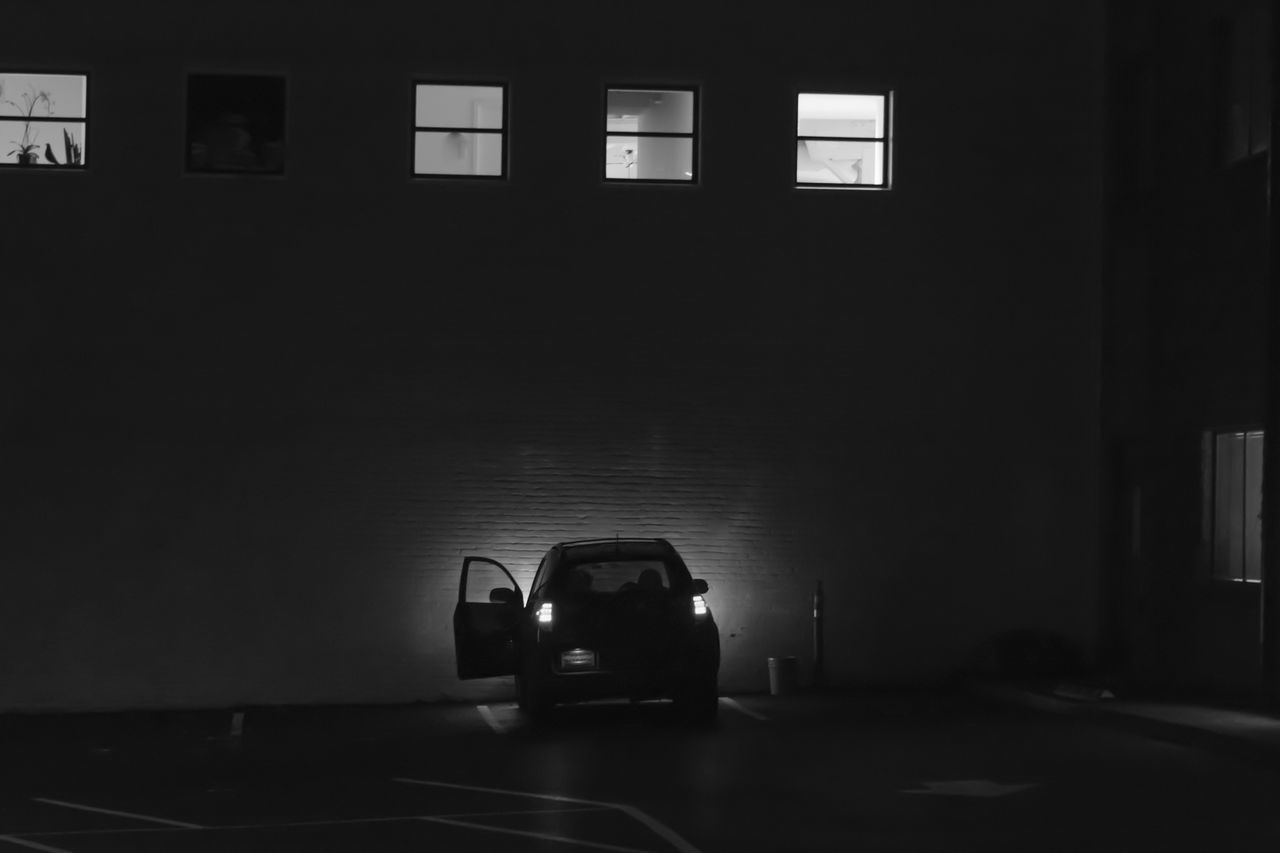 Black & White Photography Car Indoors  Land Vehicle Night Night Photography No People Transportation