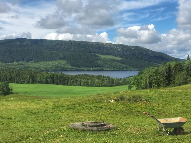 Grass Scenics Nature Sky Mountain Tranquility Beauty In Nature Day Cloud - Sky No People Tranquil Scene Green Color Field Tree Landscape Outdoors Idyllic Water Growth Mountain Range Sweden-landscape Sweden Nature