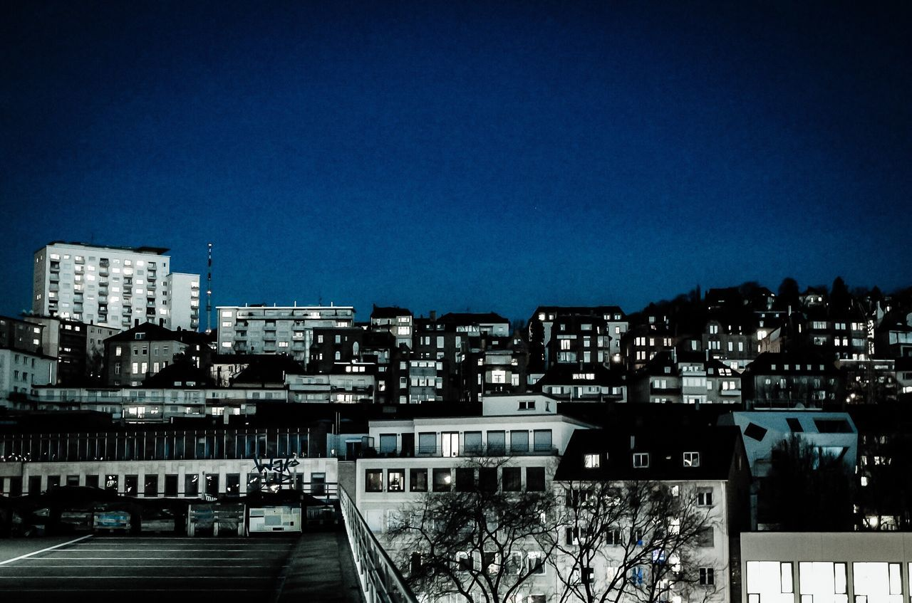 Architecture City Blue Clear Sky No People Sky Night Stuttgart Stuttgart,Germany
