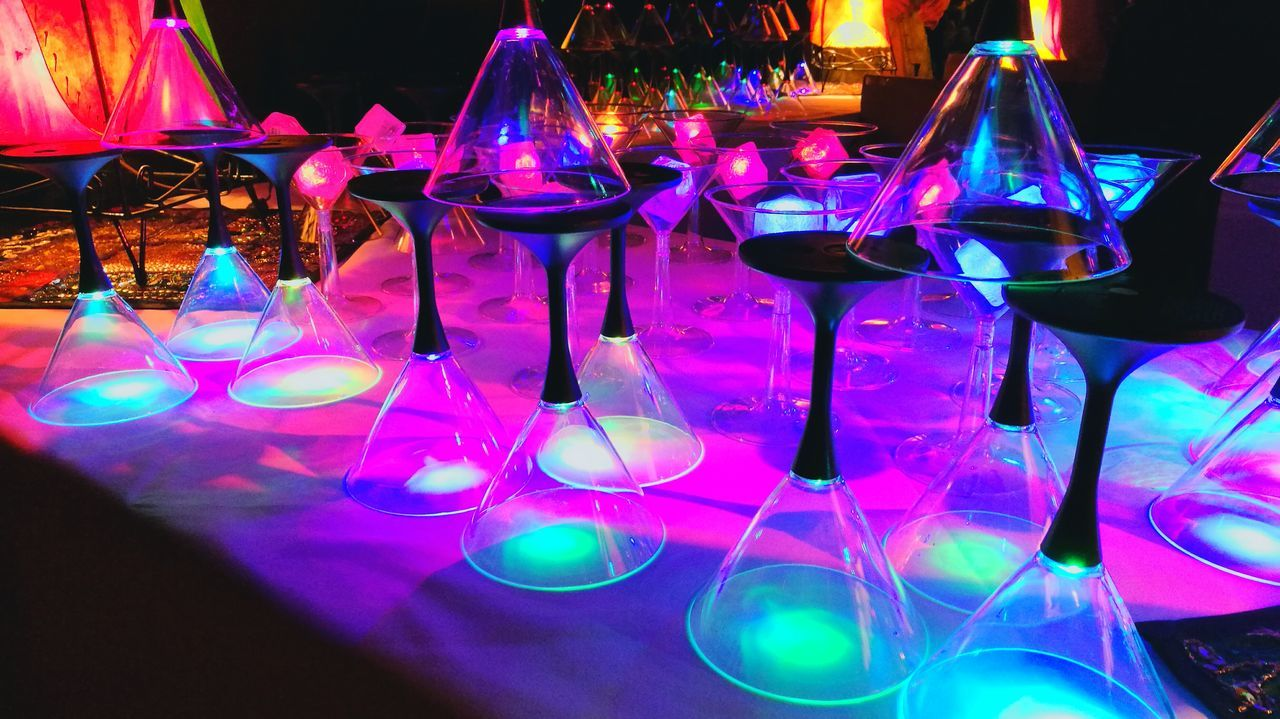 Cacktel . Illuminated Night Party - Social Event Disco Lights Nightclub USA Pattern