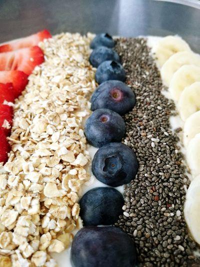 Food Freshness Healthy Eating Blueberries Bananas Strawberries Porridgeoats Soya Yoghurt Chiaseeds Colorful Visual Feast EyEmNewHere