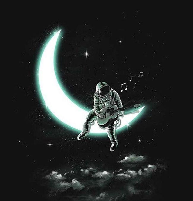 """Sıkılırsan güneşten , gece oluruz erkenden . Sen istersen "" Moon Astronaut Night Giutar Sky Instalike Art Galaxy Likes Cool SFB Goodthing Like4like Instamood PhotoGridPro Instalike Instagood Likeback Utopia Dream Astronomy Bestart"