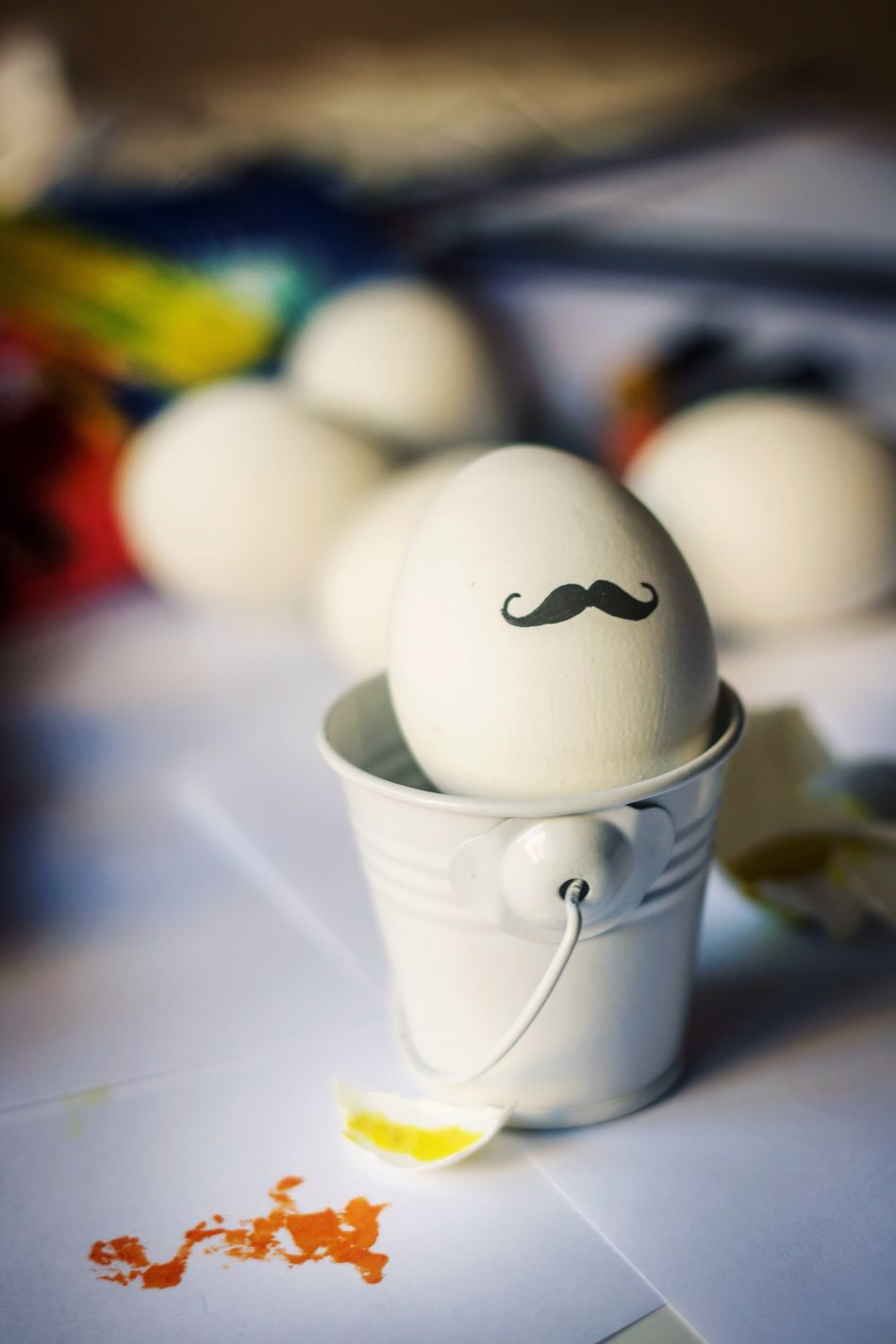 Egg White Color Table Focus On Foreground Close-up Funny Eggcup Food Easter Art