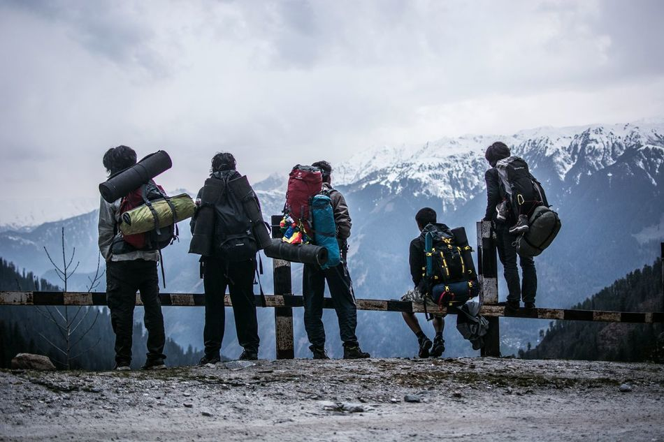 Cloudy Togetherness Mountain Standing Scenics Rear View Himalayas Trekking Railing Hiking Backpacker People And Places