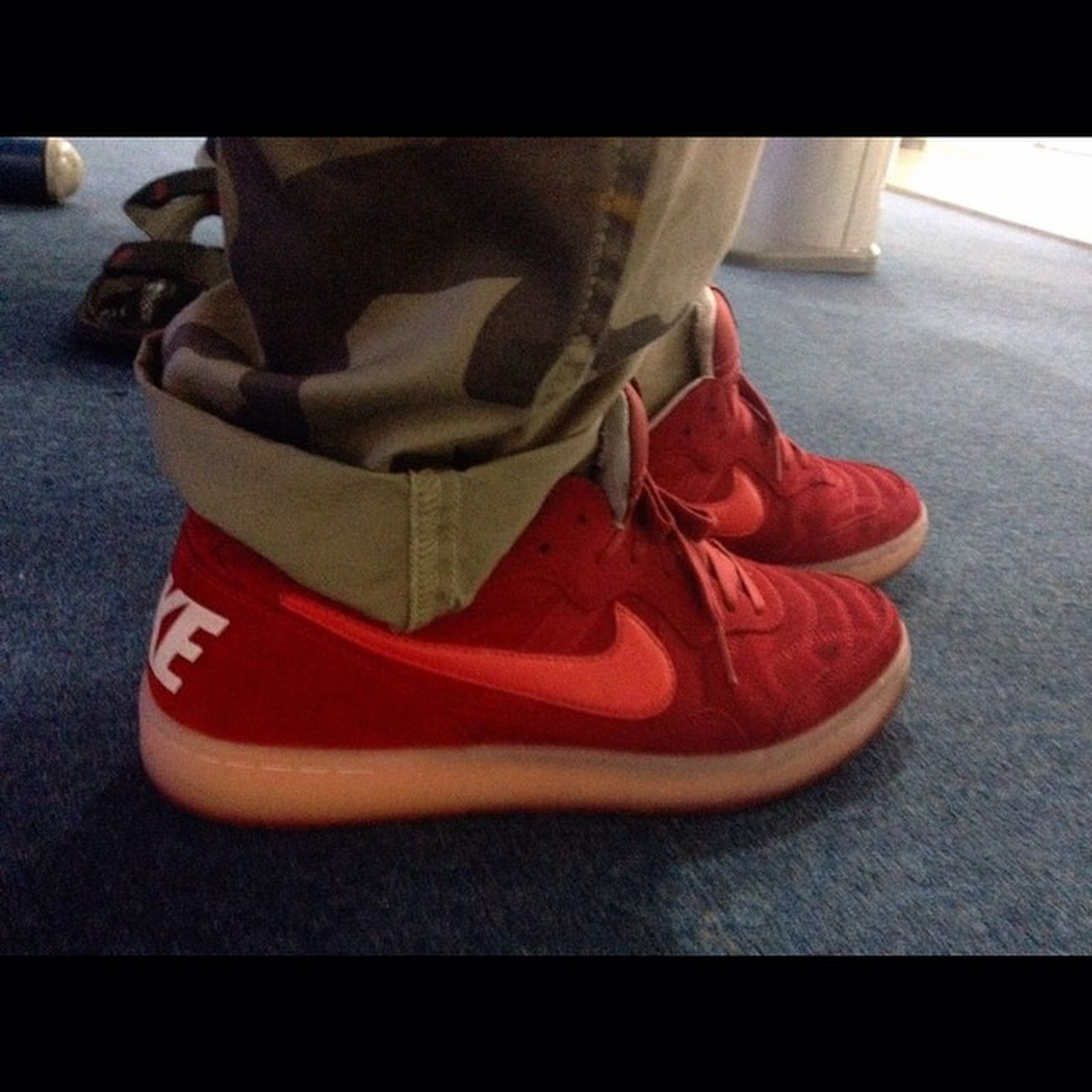 Instasize IPhone Nike Nikesportswear tiempo94 red crimson suede sneakers dockers camo