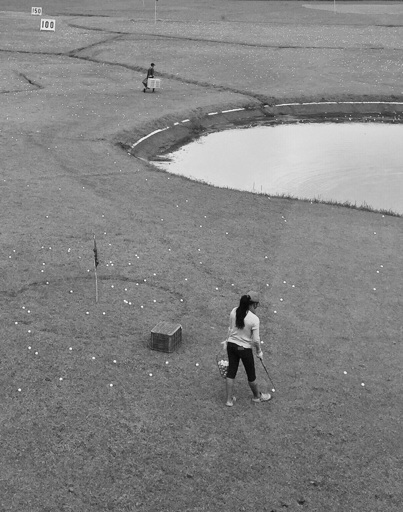 Golf ball pickers Full Length Real People Casual Clothing Leisure Activity Lifestyles Day Outdoors One Person Women Nature People Golf Course Driving Range Eye4photography  EyeEm Gallery Sports Photography