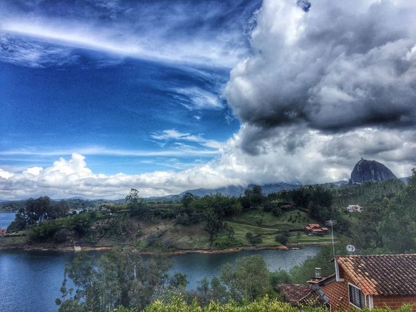 Colombia Village Lake Cloud - Sky Nature Sky Day Outdoors Clouds Iphone6plus Mountains View From Above House Beauty Hostel View Hostel Green Field Relax