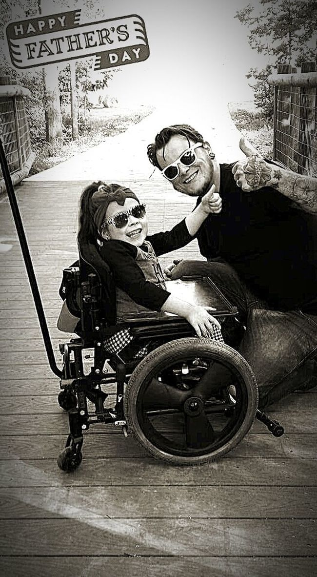 Fatherhood Moments Father And Daughter Fatherhood  Father's Day Father Daughter Time Fatherlove Father's Day 2016 Fathersanddaughters Family Matters Special Needs Kids Disability Not Inability Disabilityaintshit Wheelchairmafia Handicapped Child Smiling Girl Best Smile In The World Transportation Land Vehicle Side View Full Length Casual Clothing Lifestyles Leisure Activity Men Sitting