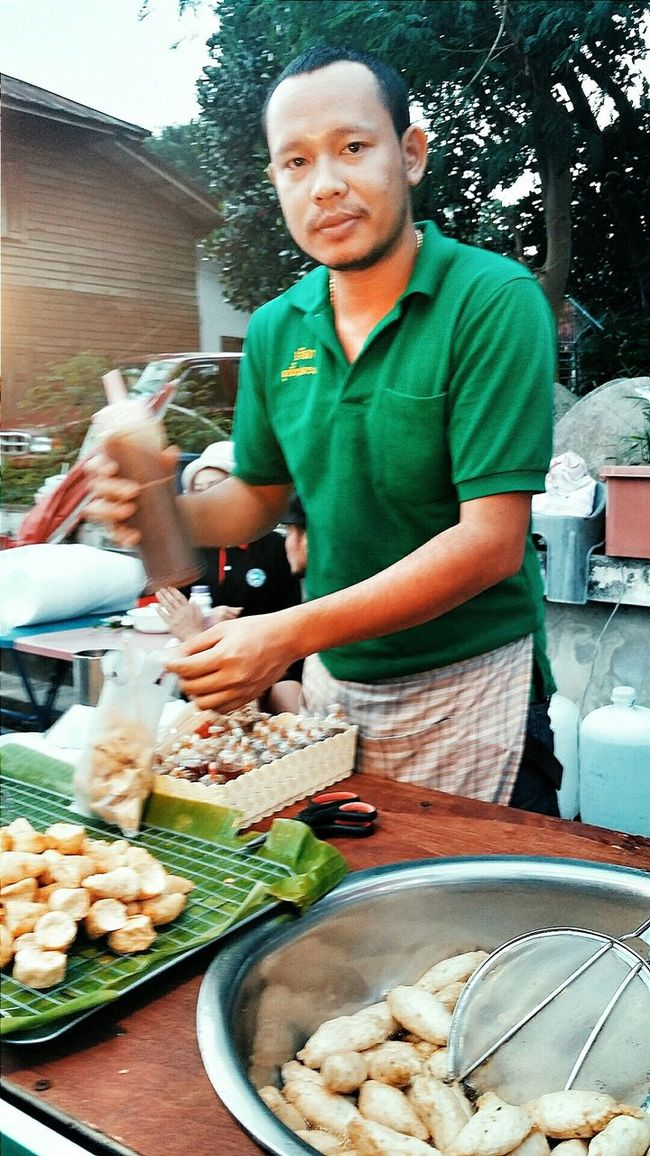 Sunday Market At Lamai Deep Fried Fish Balls Streetvendor Samui_thailand