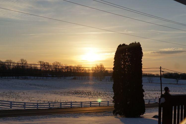 The beautiful sunrise Snowy Sunrise Sunrise Sky Nature No People Cold Temperature Shades Of Winter